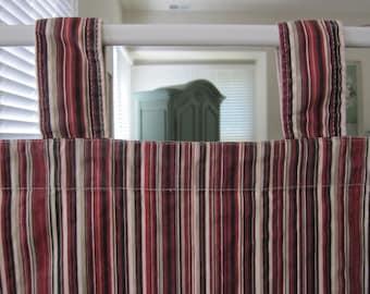 Tab Top Curtain, Multi Striped Cotton Duck Tab Top Curtain 80 long