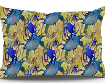 Sandy Crab Party Pillow Case from my original art