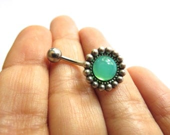Belly Button Ring Jewelry, Opal Green Flower Daisy Faux Stone Gem Gemstone Belly Button Ring Navel Piercing Stud Bar Barbell Antique Silver