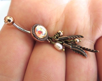 Irridescent Champagne Rainbow Pearl Belly Button Ring Jewelry Navel Piercing Long Charm Feather Bellyring Bar