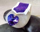 Swarovski Purple Heart Necklace, Purple Heart Necklace, Heart Necklace, Crystal Heart Necklace, Purple Heart, Veterans, Purple Necklace