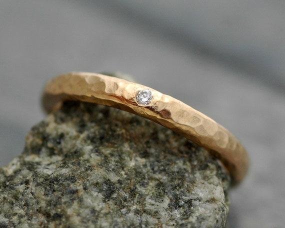 Gold Stacking Ring with Flush Set White Diamond- 14k or 18k Recycled White, Yellow, or Rose Gold
