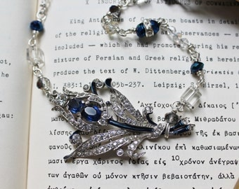 Splendor - Handwired Sterling Silver and Sapphire Rose Brooch Artisian Necklace