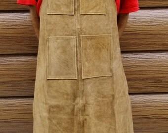 Multipurpose Leather Work Bib Apron With 4 Pockets