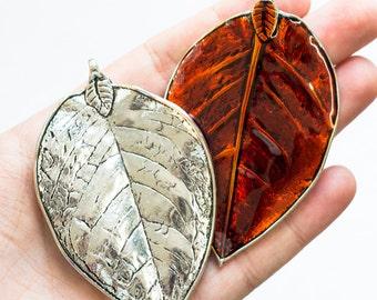 One Dark Orange Enamel Leaf, Leaf Pendant, Leaf Charms, Large Leaves Charms, Orange Leaf Focal Beads
