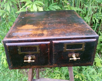 SALE - Rustic Wooden Antique Two Drawer File Cabinet With Brass T Pulls from Rustysecrets