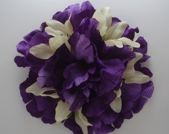 Queenie Large Purple Peony With Yellow Lily Accent Flowers Hair Flower