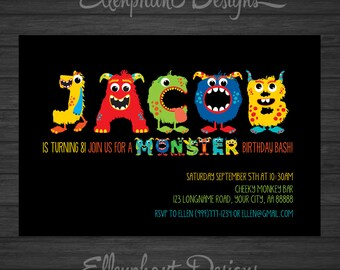 Monster Birthday Invitation, your name in monster alphabet, bash, boy, party, any age, 1st, 2nd, 7th, custom invite, digital file, you print