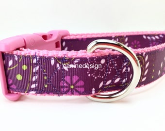 Dog Collar, Purple Paisley, 1 inch wide, adjustable, quick release, metal buckle, chain, martingale, hybrid, nylon