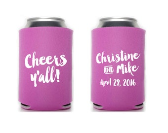 Custom Wedding Collapsible Can Coolers - Cheers Y'all!