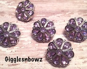 SALE! RHiNESTONE BuTToNS- Set of FIVE Teardrop Rhinestone Buttons LAVENDER 18mm- Hairbow Centers- Headband Supplies Acrylic Buttons DiY