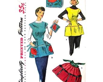 50s Vintage Apron Pattern Simplicity 4492 Kitsch Cobbler Or Half Apron Potholder Pattern Poppy Transfer Womens Bust 34 36 Sewing Pattern