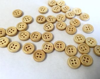 Small wooden buttons, 12 mm (15/32 inch), Twenty-Five pcs, matching wood buttons, light, natural buttons, just under half inch