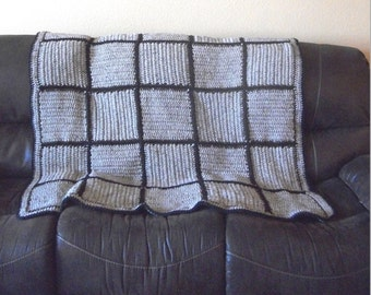 Crochet Beige Tweed Blend Throw Blanket with Free US Shipping