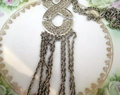 Vintage Statement Runway Abstract Chain fringe Necklace Pendant