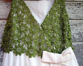 Vintage 60's Mod Long Maxi Dress Green lace top with white ruffled Bottom S/M