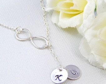 Sterling Silver Necklace - Sideways Infinity Lariat Necklace With Two Hand Stamped Initials