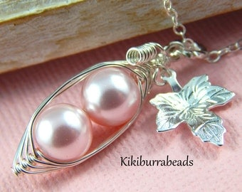Peapod Necklace Two Pink Peas In A Pod Silver Necklace