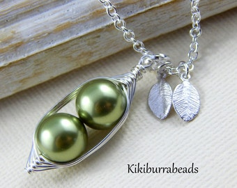 Peas In A Pod Necklace - Two Peas In A Pod Personalized Necklace Choose Your Swarovski Pearl Color
