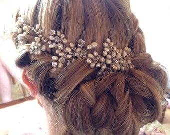 Bridal headpiece, headband, hair comb, Bridal hair accessories, bridal vine, vintage wedding, pearls, rhinestone, hair vine,