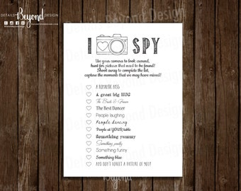 I SPY Wedding Photography Game - Children's Game card - Photo scavenger hunt checkoff list - Instant Download - PDF