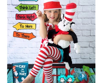 Red and White Striped Girl's Halloween Leg Warmers