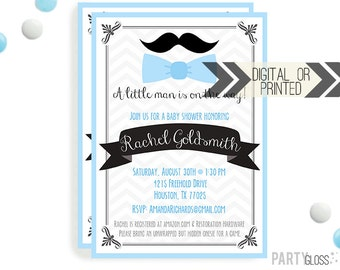 Little Man Baby Shower Invitation | Digital or Printed |  Little Man Shower | Mustache Invitation |  Little Man Invite | Mustache and Ties