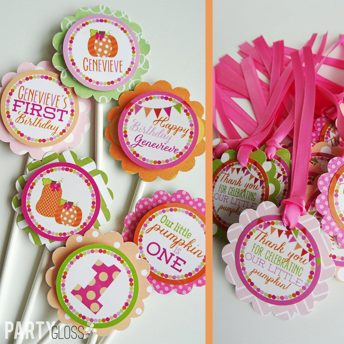 Girly Pumpkin Birthday Party Decorations Package Fully