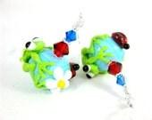 Frog & Ladybug Earrings, Blue Green Red Lampwork Earrings, Funny Earrings, Frog Jewelry, Glass Earrings, Animal Earrings, Critter Earrings
