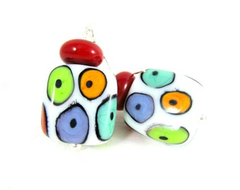 Colorful Spotted Earrings, Funky Earrings, Bright Color Dangle Earrings, Statement Earrings, Multicolor Jewelry, Lampwork Glass Earrings