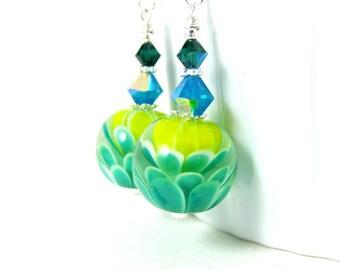 Water Lily Earrings, Green Yellow Blue Flower Earrings, Botanical Jewelry, Colorful Floral Earrings, Dangle Earrings Lampwork Earrings