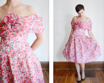 1980s Albert Nipon Silk Floral Dress - M