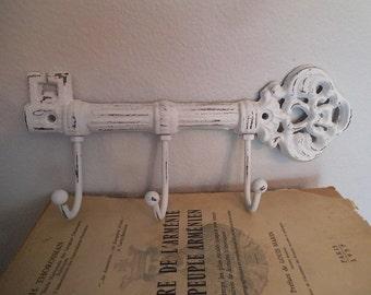 Shabby chic Rustic WHITE cast iron Key Hooks ... Upcycled Antique Style KEY Hook Rack Farm House