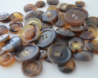 Brown Marble/Tortoise Colored Buttons - 50+ Various sizes, shades & styles