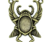 Bronze Insect Bug Cabochon Cameo Connector Setting Charm 51mm 1 Piece