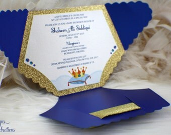 Diaper Baby Shower Invitation - Prince - Glitter - Sparkle - Shimmer - Glitz - Royal - Crown - Regal