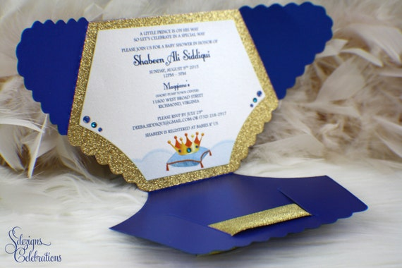diaper baby shower invitation prince glitter sparkle shimmer glitz royal