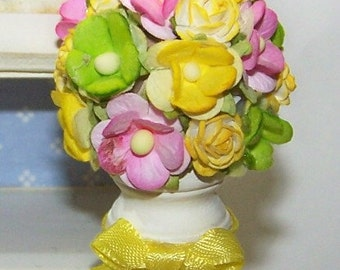 Bouquet, Miniature, Floral Arrangement, Yellow, Flowers, Get Well, Holiday, Easter, Home Decor, Doll House, Petite, Roses, Pink, Lime