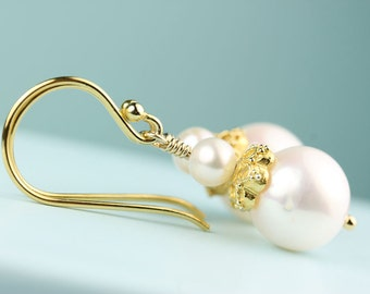 Pearl Earrings with Vermeil Bead Caps on French hooks, by art4ear, pearl jewelry, white freshwater pearl dangle earrings, gift idea for her