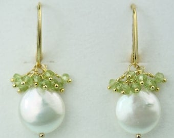 Peridot cluster White Coin Pearl Earrings on Gold Vermeil Lever Backs, August Birthstone by art4ear, gift for her, dangle earrings, handmade