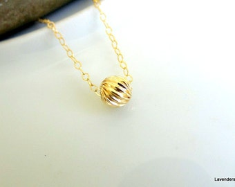 Gold Twisted Ball Necklace , Gold Necklace , Simple everyday Necklace ,  Ball Necklace