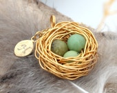 Personalized bird nest necklace with three chrysoprase eggs and initial charm- gold plated woven wire with chain- May birthstone