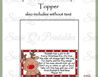 Rudolph's Red-Nose Repair Kit Topper - US and International Sizes - Digital Printable - Good Craft Show Seller - Immediate Download
