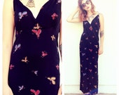 Vintage 90s black butterfly maxi dress