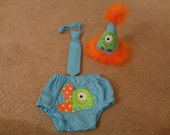 One Eyed  Fuzzy Monster Bloomers Tie and Hat Set