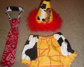 Cowboy Sheriff Cake Smash Bloomers, Tie and Birthday Hat