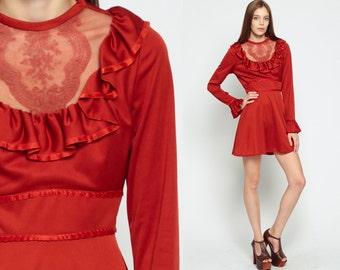 Babydoll Mini Dress RUFFLE Bib 70s Boho MESH Lace Empire Waist 60s Mod Dolly Bohemian Long Sleeve 1970s Vintage Victorian Small Medium