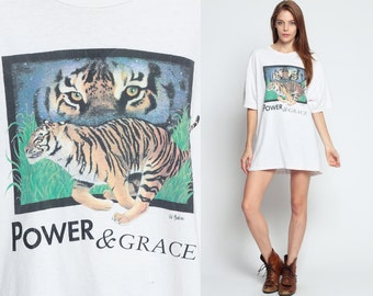 TIGER Shirt 80s Animal Tshirt POWER And GRACE Big Cat T Shirt Retro Screen Print Tee Vintage White 1980s Graphic Print Long Extra Large xl