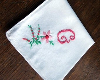 "Pink ""G"" Monogram on White Hanky/Handkerchief with Floral Embroidery Focal Corner"