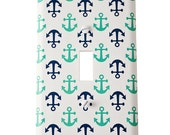 Decor Doodles™ #P37B Anchor navy green light switch cover outlet cover Bedroom decoration boy nursery decor Custom light switch plate